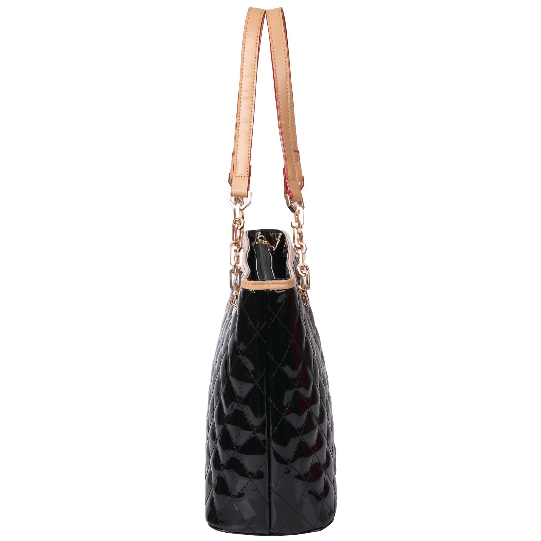 leryn black quilted patent leather designer shoulder bag tote side image