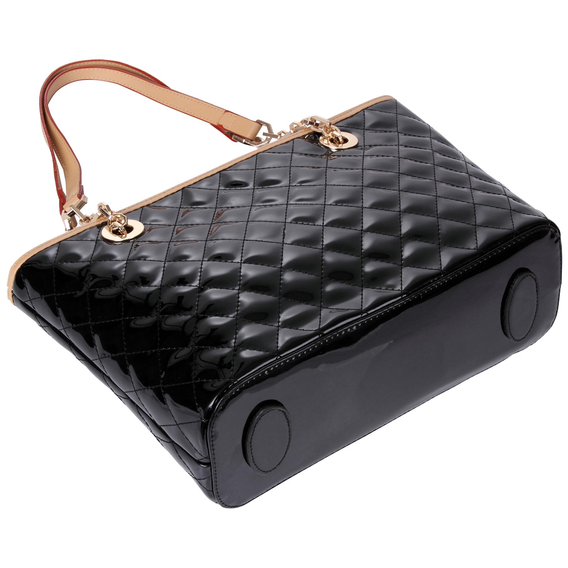 leryn black quilted patent leather designer shoulder bag tote image of the bottom