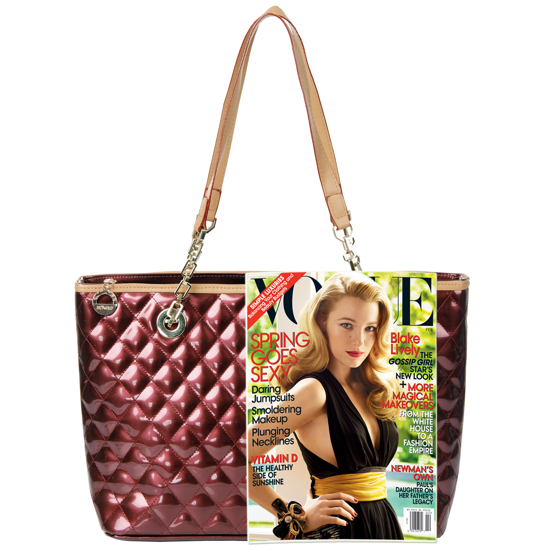 LERYN red quilted faux patent leather shoulder bag tote size comparison image