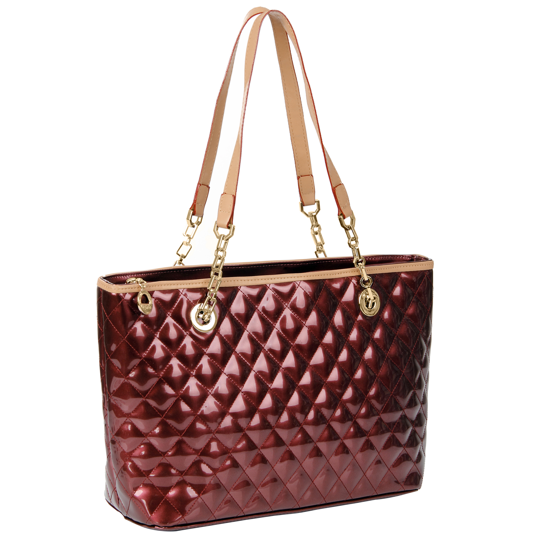 LERYN red quilted faux patent leather shoulder bag tote main image