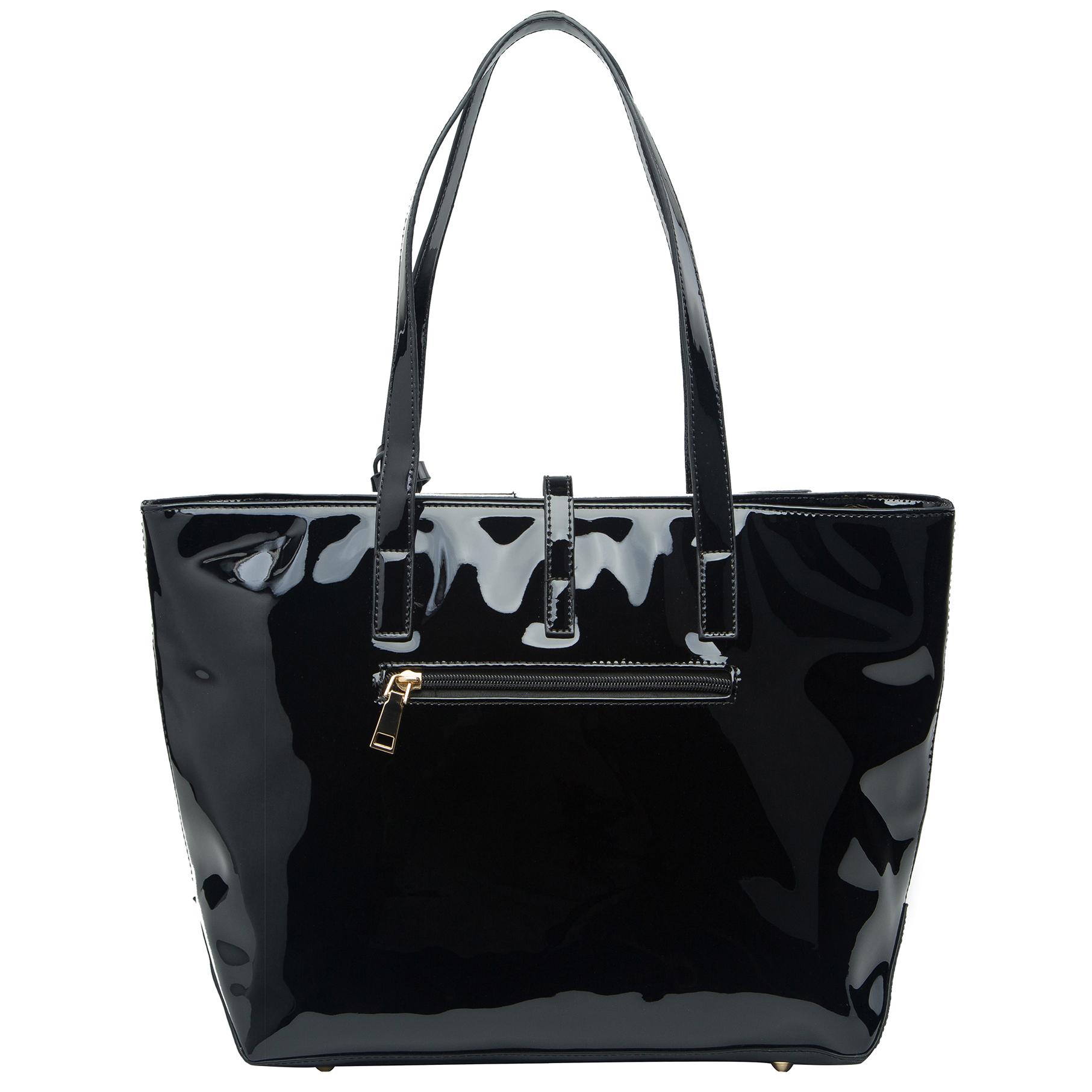 April retro leatherette top handle designer handbag back image