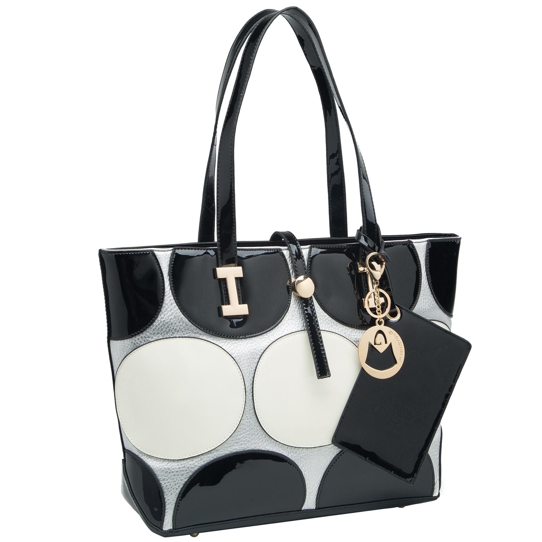April retro leatherette top handle designer handbag main image