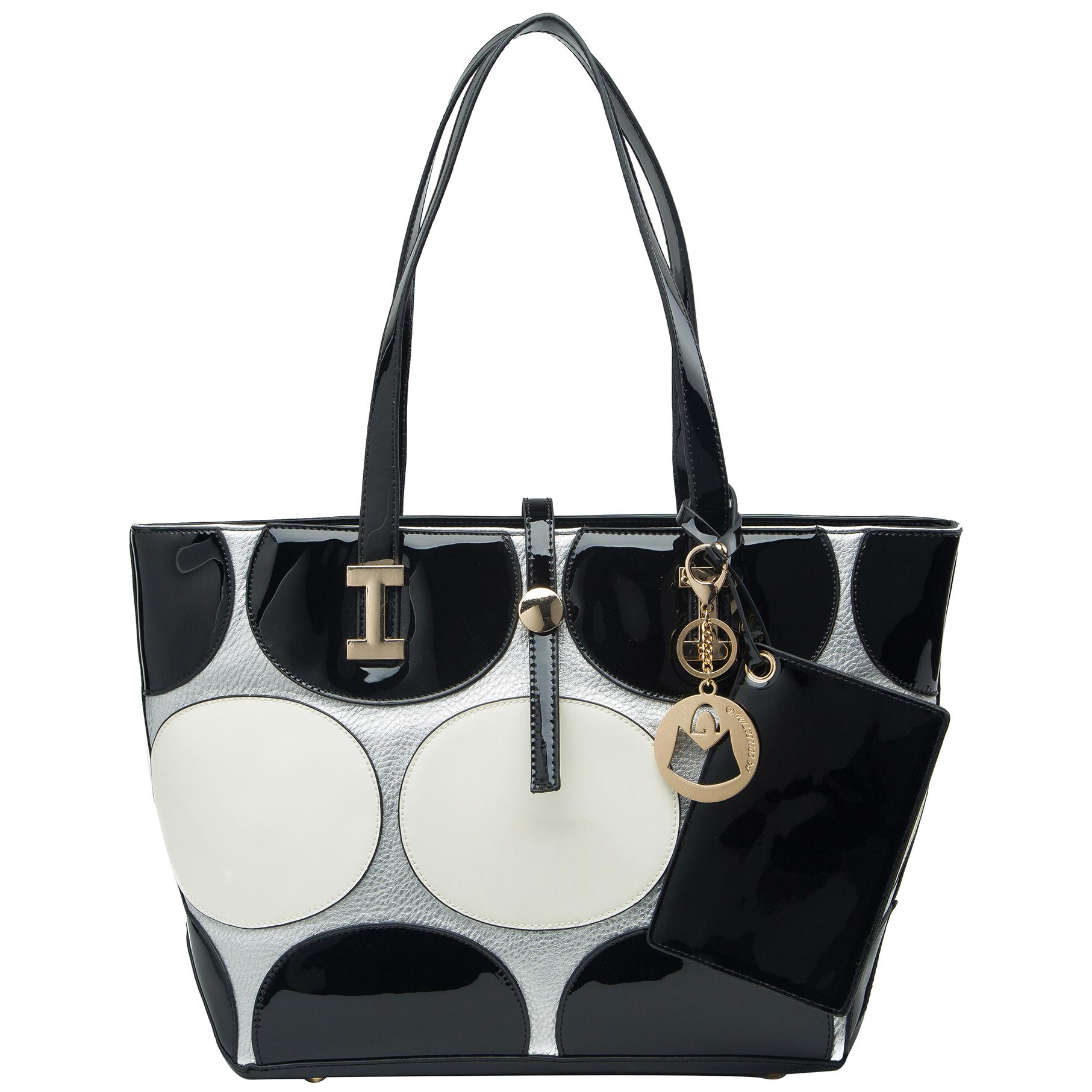 April retro leatherette top handle designer handbag front image