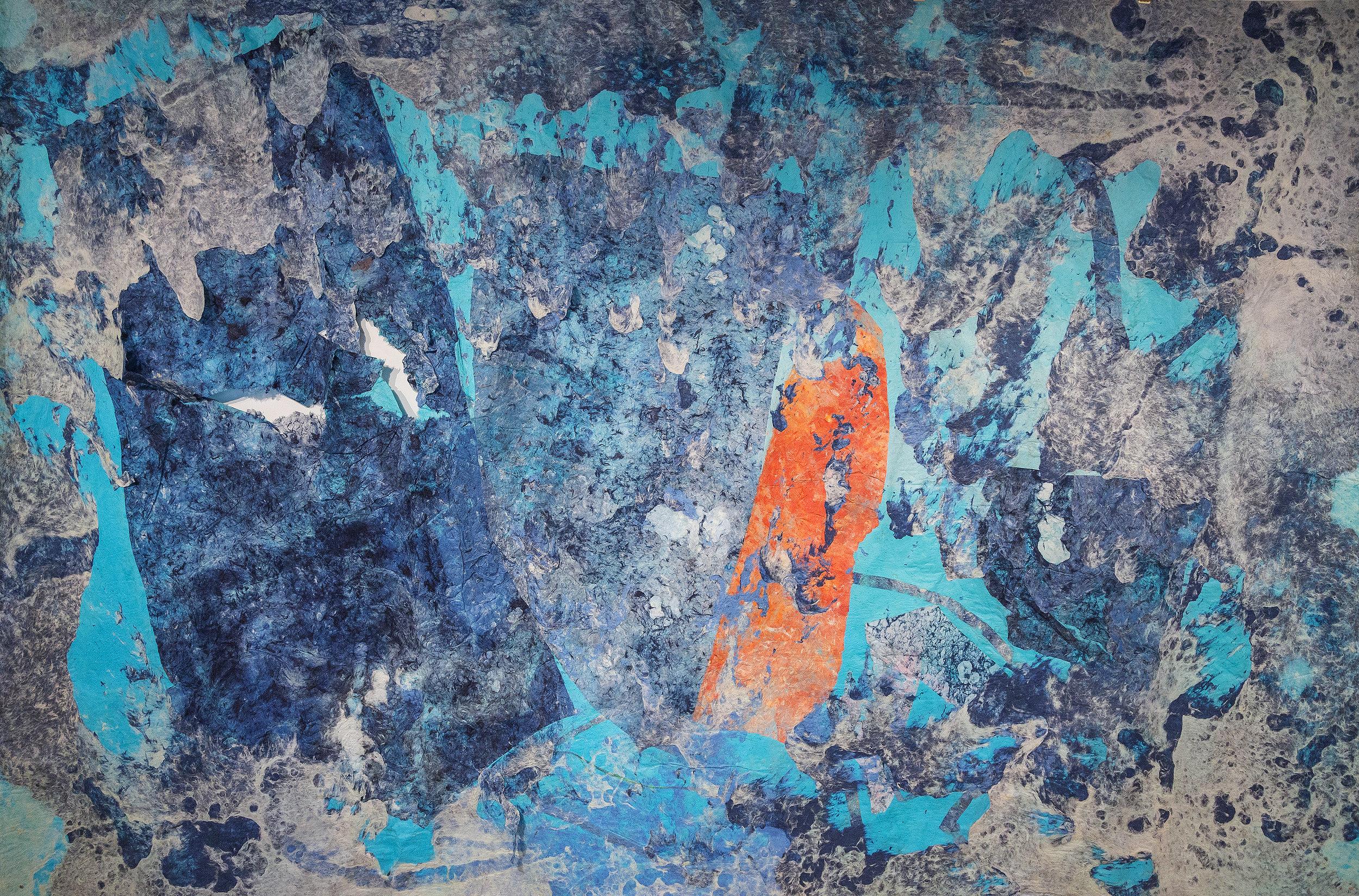 "Do You Feel the Sea Still, 96"" x 144"", kozo, sun, dust, pollen, water, repurposed paper, fiber-reactive dyes, 2016."
