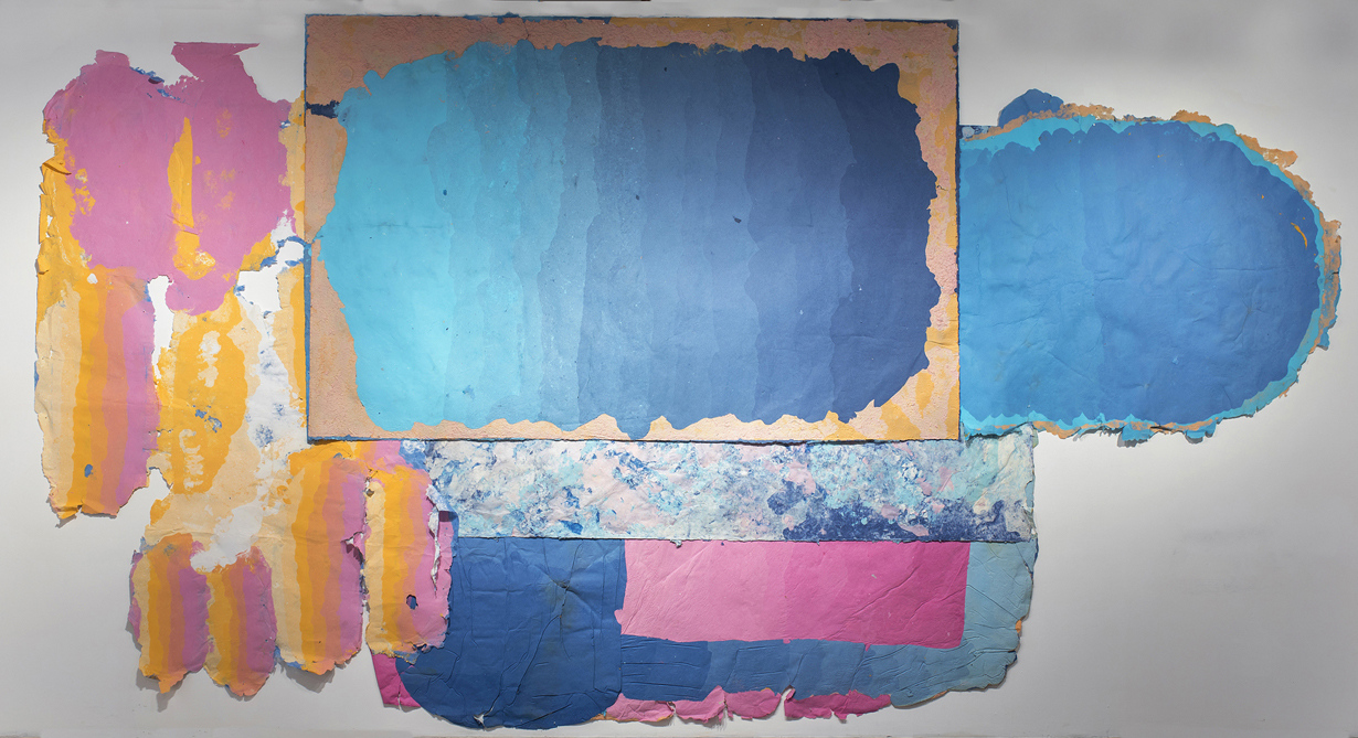 Composition for Holding the Whole, 2015 - present, 156 x 192 inches, Kozo, sun, dust, pollen, hair, fiber-reactive dyes, repurposed paper, water.