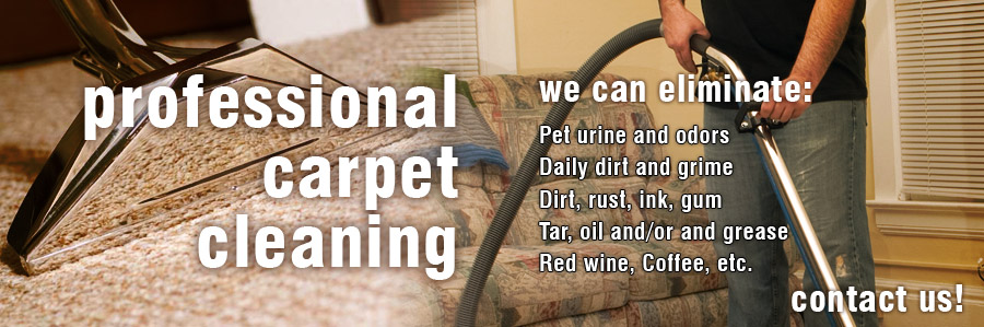 """A male vacuuming carpet with the following words written over the image, """"Professional Carpet Cleaning - Contact Us""""."""
