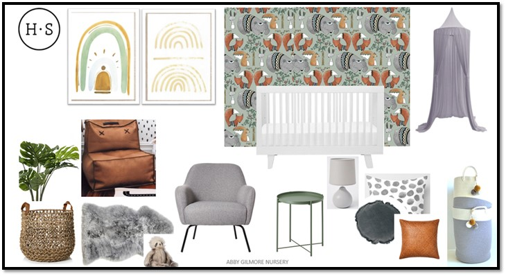 Mood & Product Board for Abby Gilmore's Nursery.