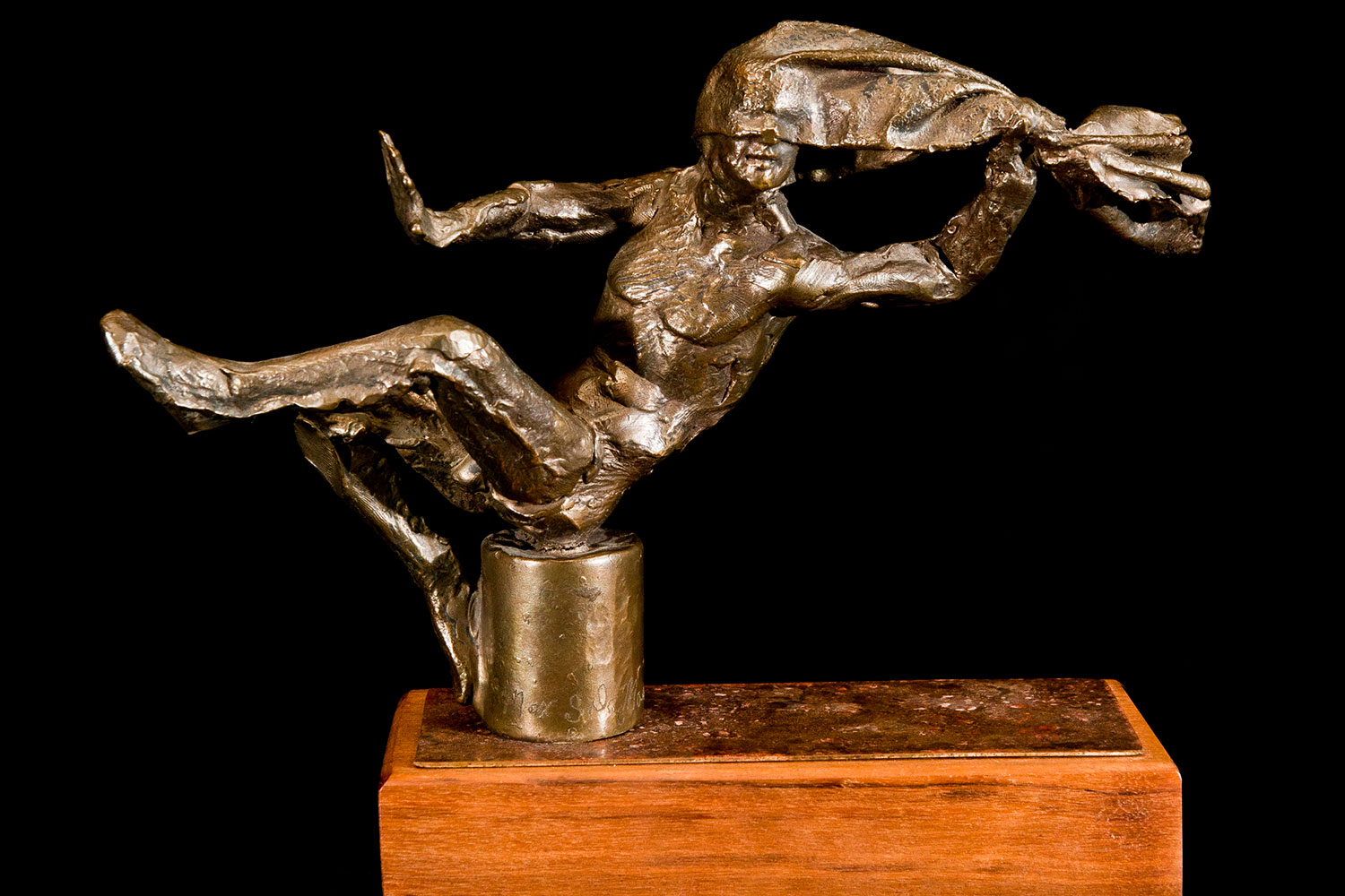 "HOOD ORNAMENT Bronze on hardwood 9"" x 10"" x 3"""