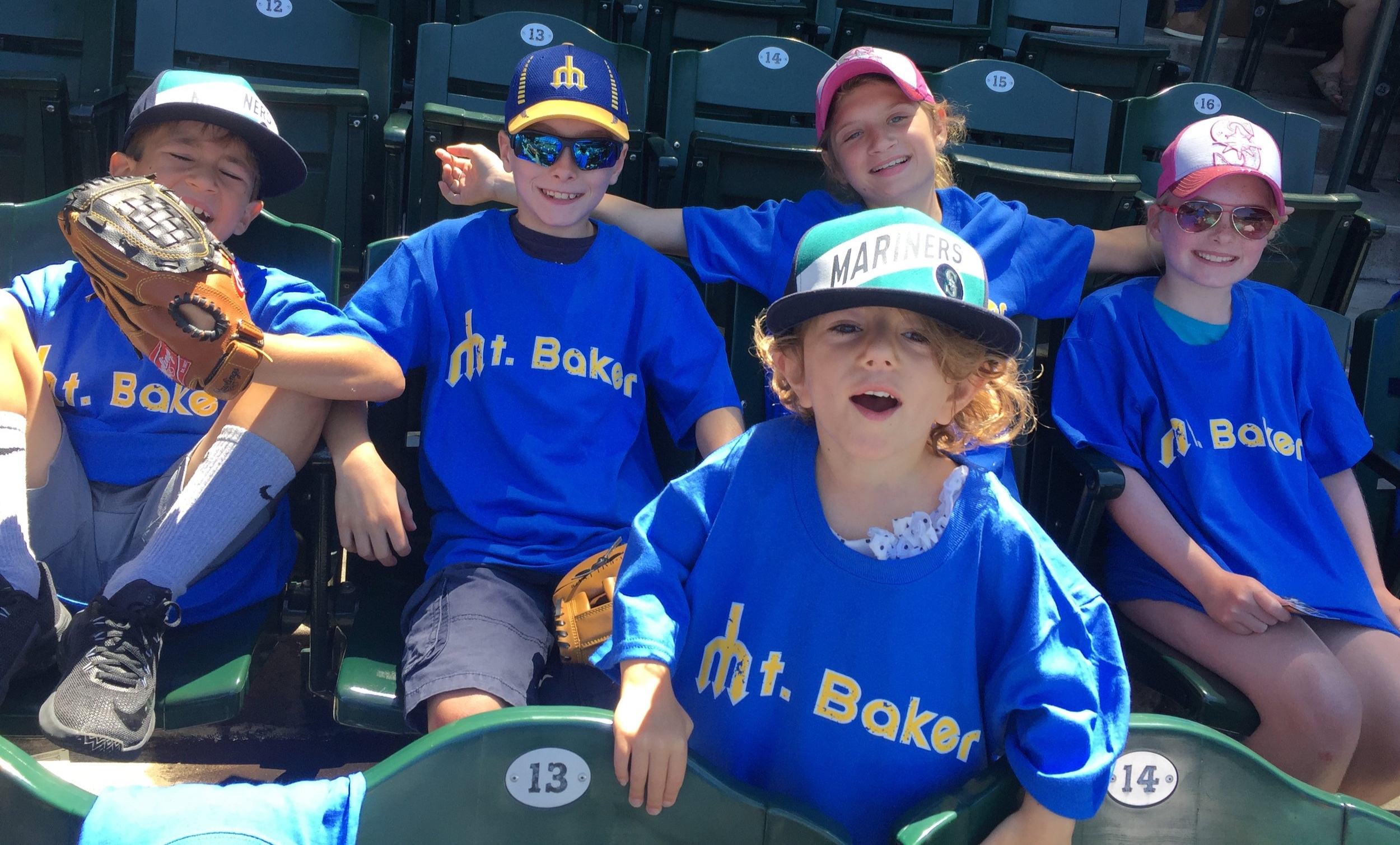 mount baker mariners fans at the neighborhood event in July 2018 (Mariners won)! 2018 edition t-shirts worn