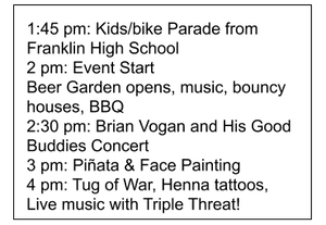 Line up & timings for day in the park - saturday 14th
