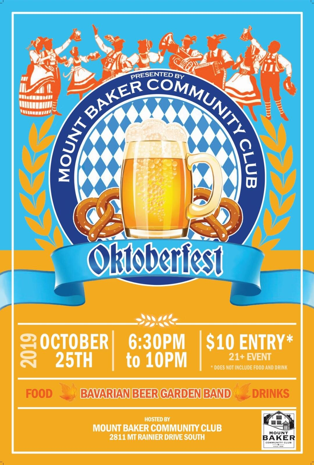Oktoberfest Friday 25th October - We're bringing a bit of Bavaria to Mount Baker on Friday 25th October 2019.Tickets are just $10 for entry into the event and to enjoy live music from the Bavarian Beer Garden Band. Buy now HEREDoors open at 6.30pm and we finish around 10pm. The event is strictly 21 and over -please bring ID with you. Full details HERESo end your week with a fun night with friends and neighbors.Prost!!