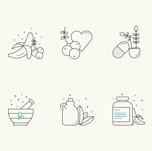 Some icons I designed for the health beverage brand Higher Mind