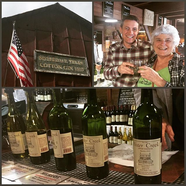Clockwise from top left: The Cotton Gin, me and Mabeth sharing a toast, the Sister Creek tasting lineup.