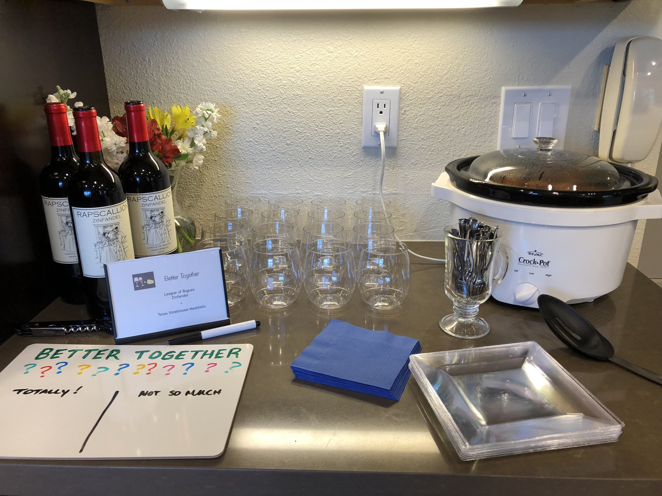 Zinfandel and meatball pairing station for the Better Together party