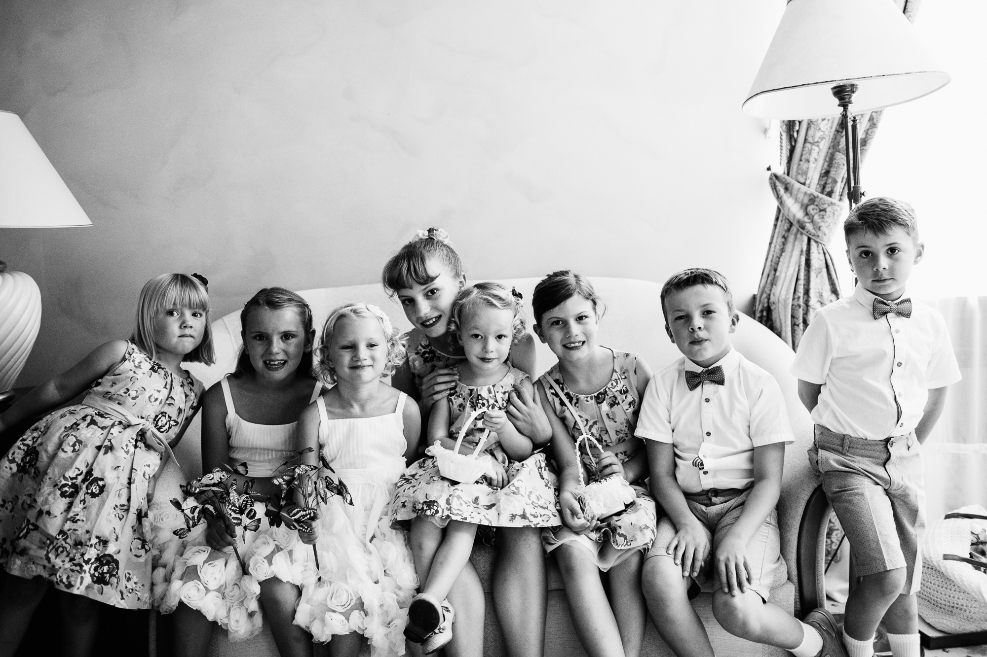 cute wedding children black and white photography