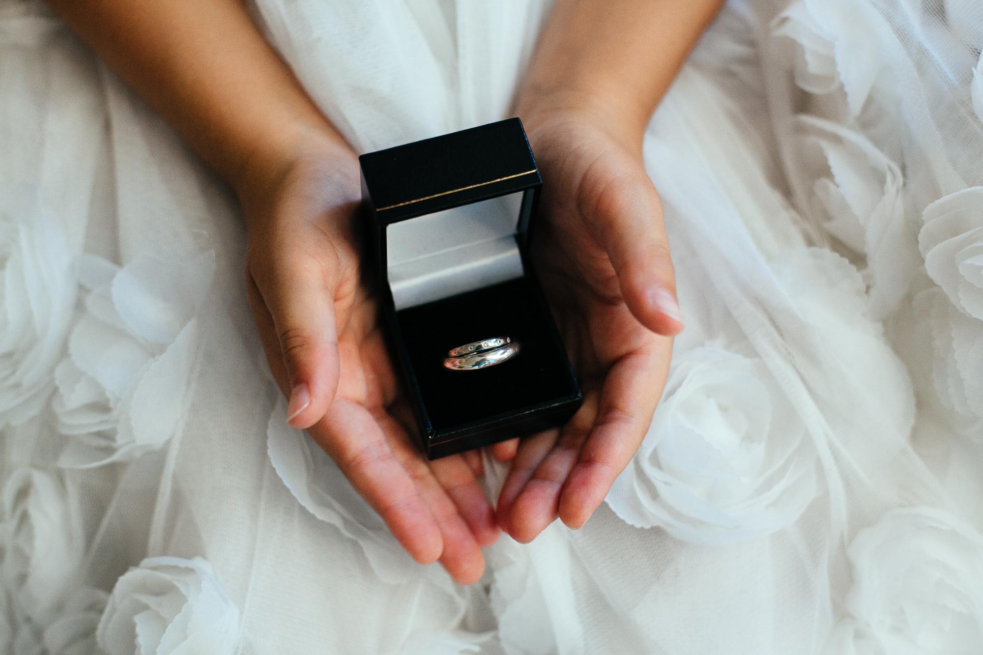 child hand holding wedding ring wedding photography