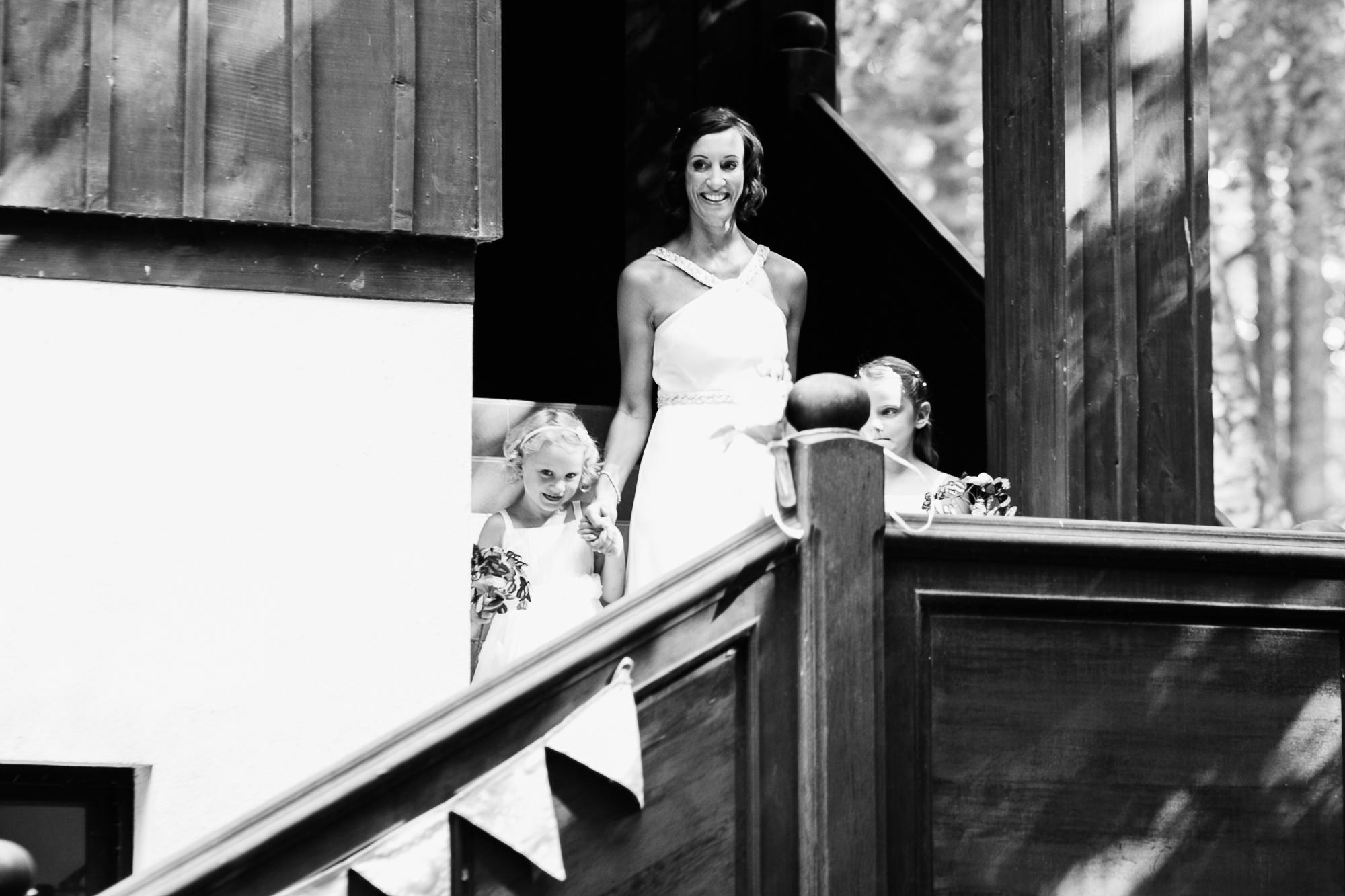 black and white bride entrance