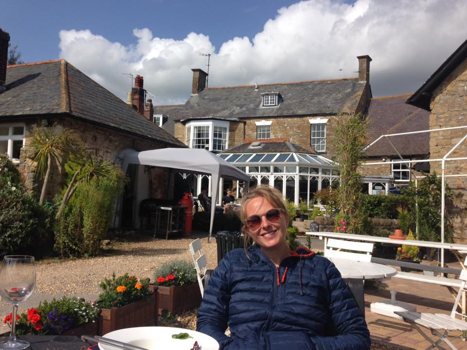 End of the road - pub lunch in Abbotsbury - taken by Rosie who joined me for the very slow, final walk along Chesil beach