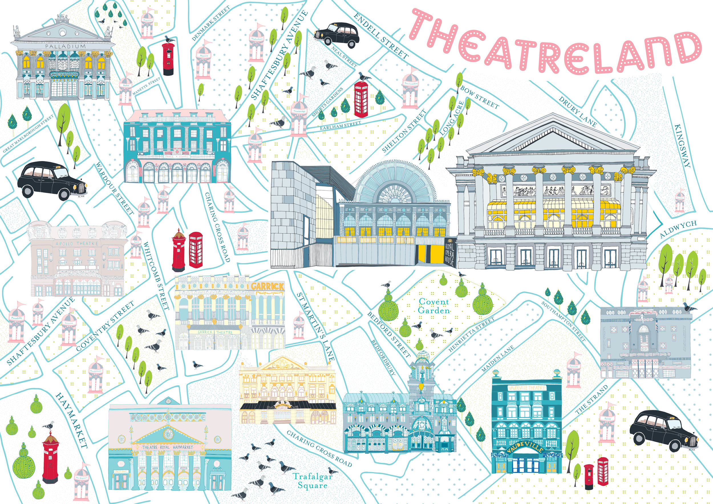 An illustrated map for The Royal Opera House in Covent Garden.