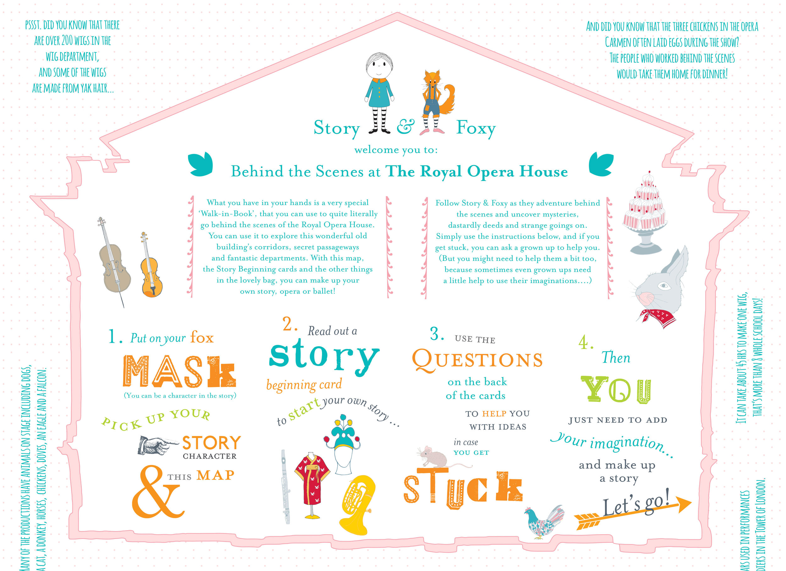 A bespoke 'Walk-in-Book' for The Royal Opera House, including story cards, a mask and soft toy character.