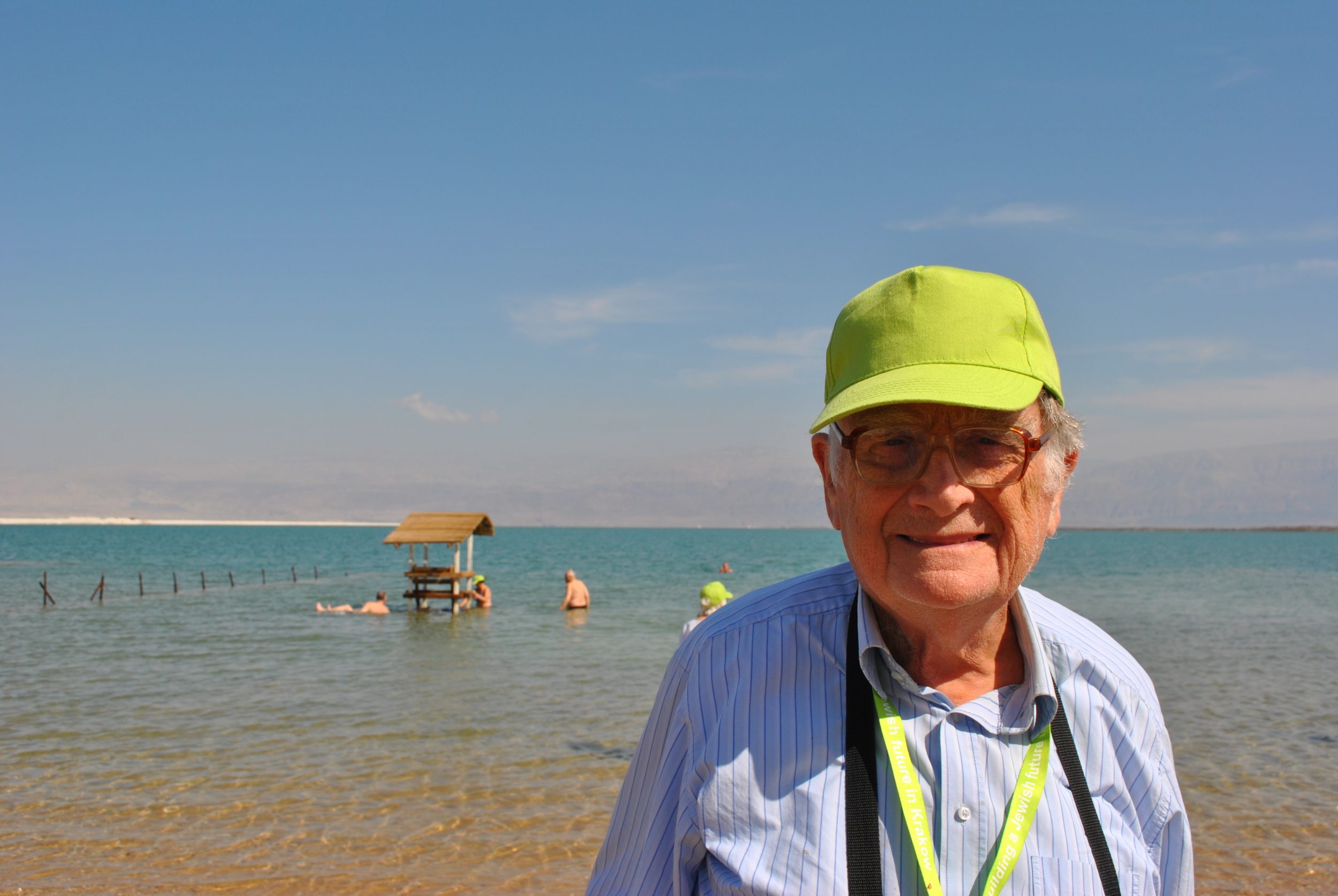 Jan, enjoying the breeze at the Dead Sea for the first time.