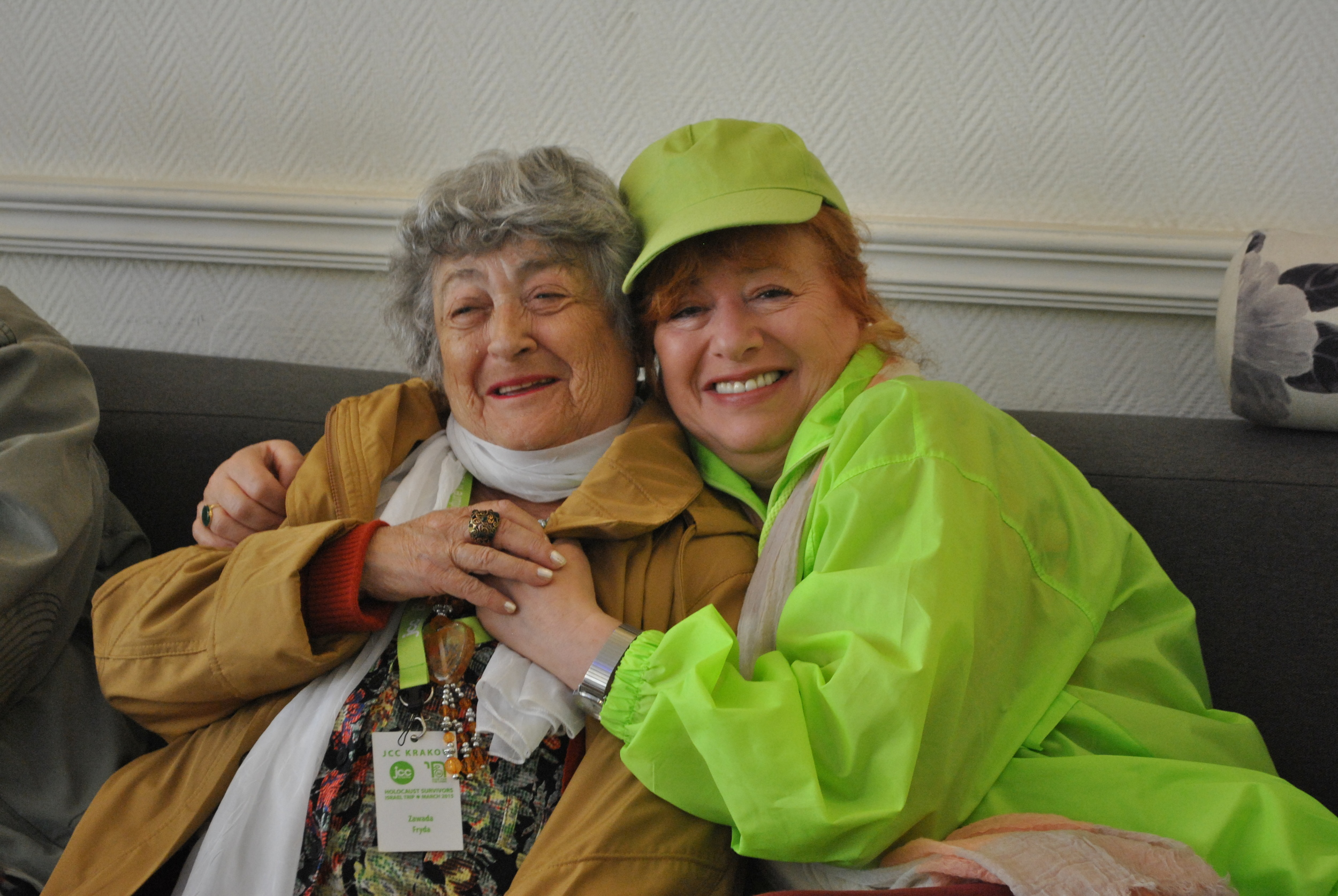 Frida and Małgosia, the JCC Krakow Senior Club Coordinator tired but happy after the week long visit.