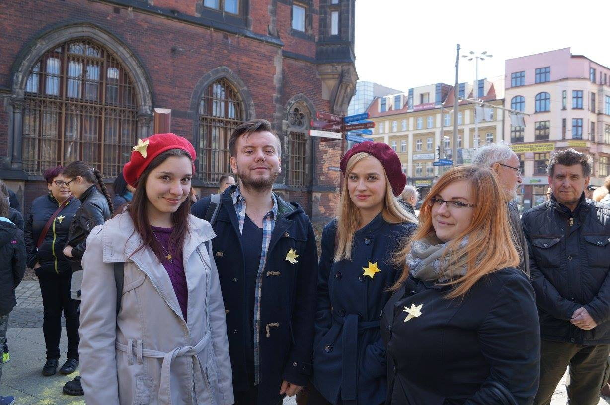 Lila and JCC Krakow members and volunteers taking part in the Warsaw Ghetto Uprising commemoration.