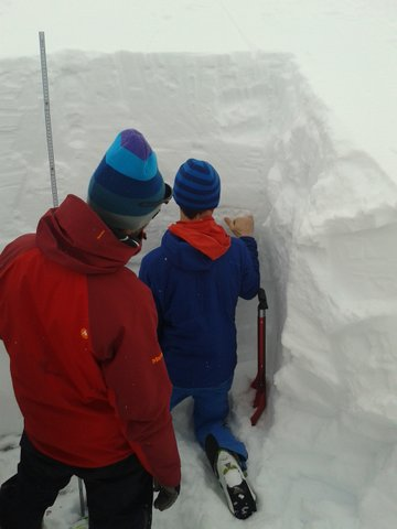 Examining the layers in the snowpack