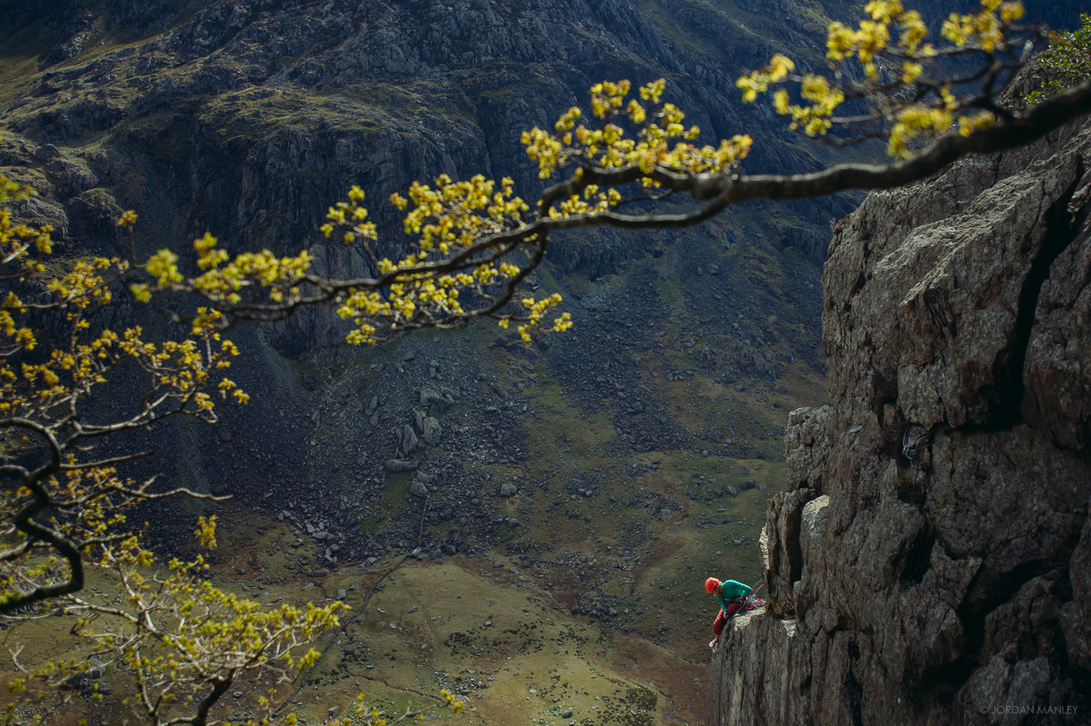 Katy Whittaker at the top of Left Edge, Dinas Cromlech