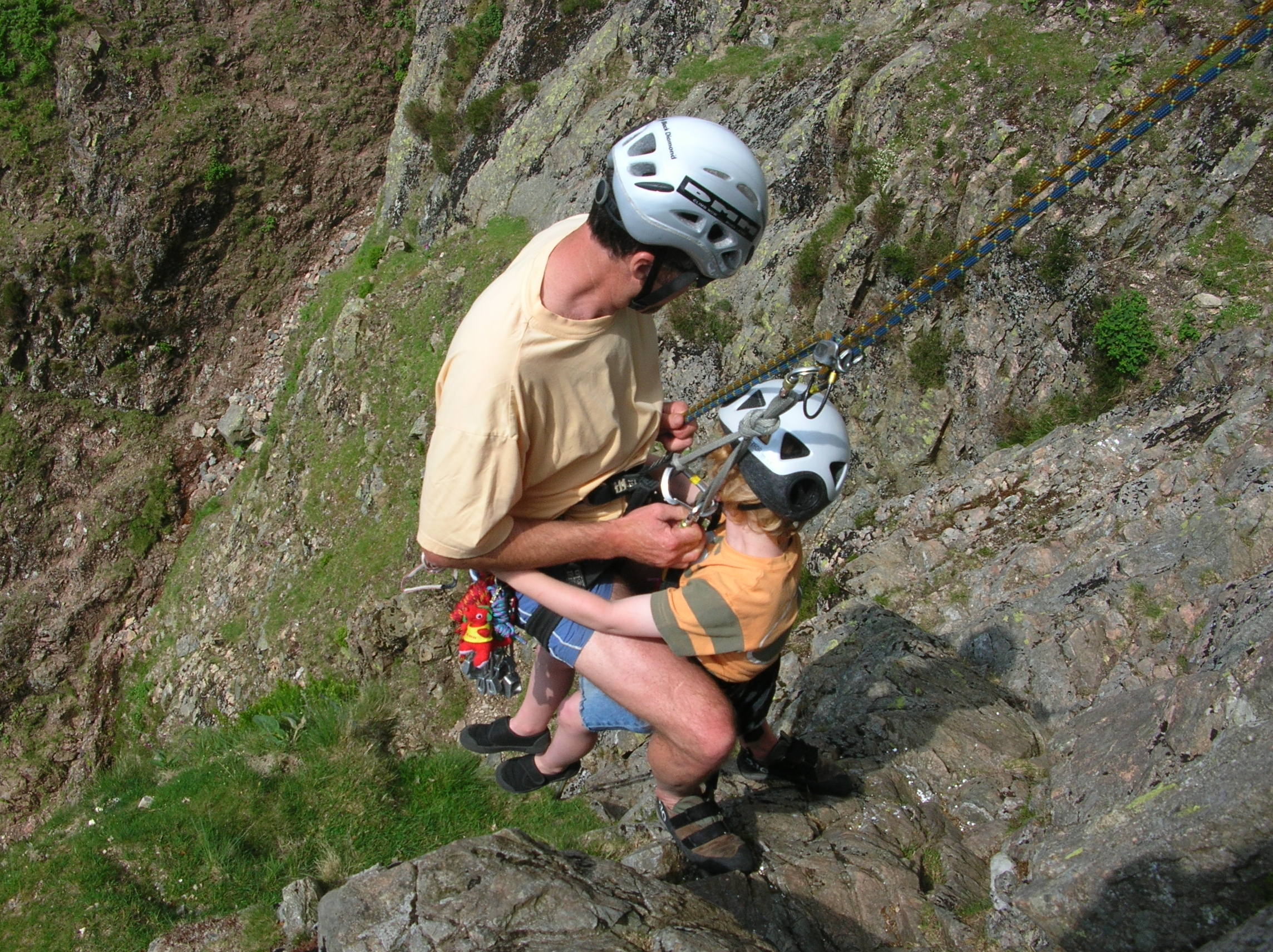 Abseiling off Middlefell Buttress with Sam
