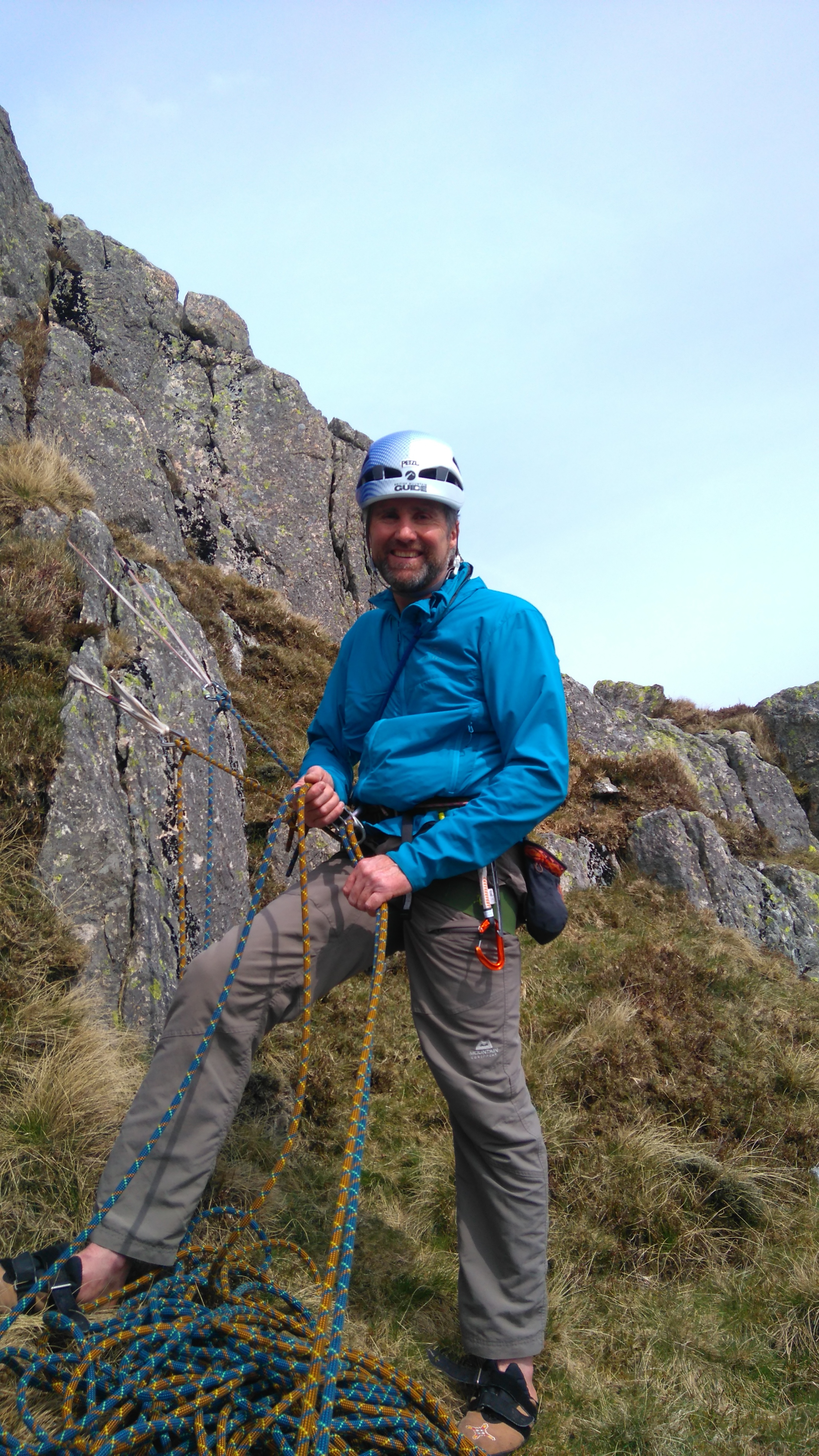 Belaying at the top of The Purple Edge. Photo credit: Chris Moore