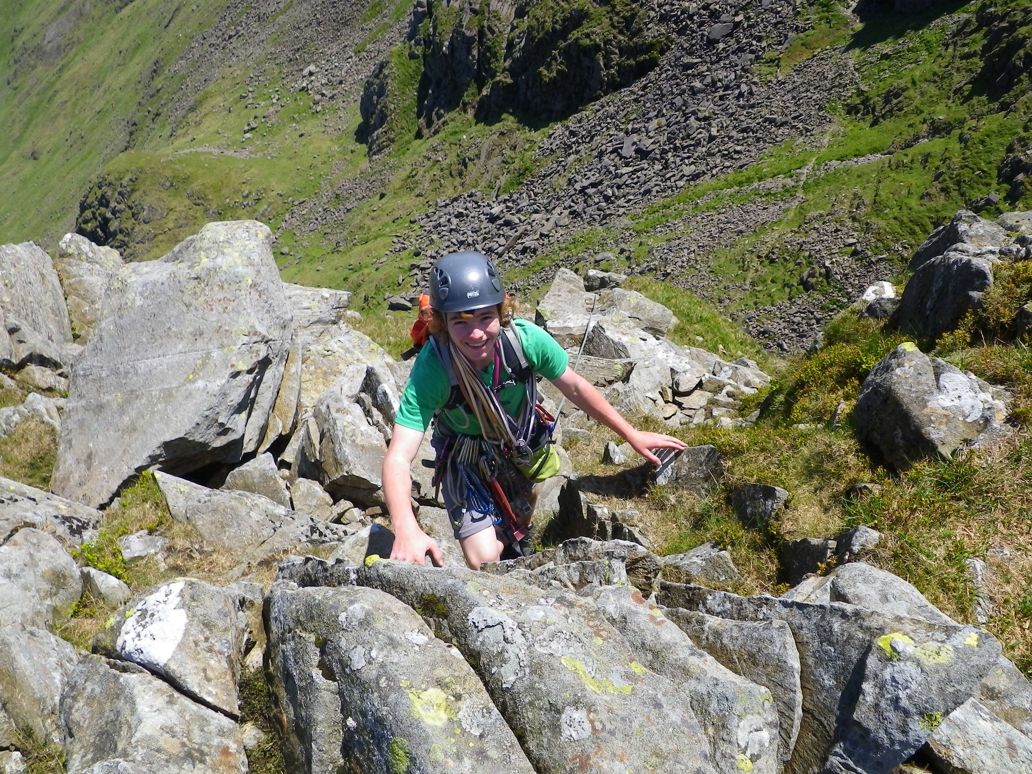 Elis topping out on Bowfell Buttress