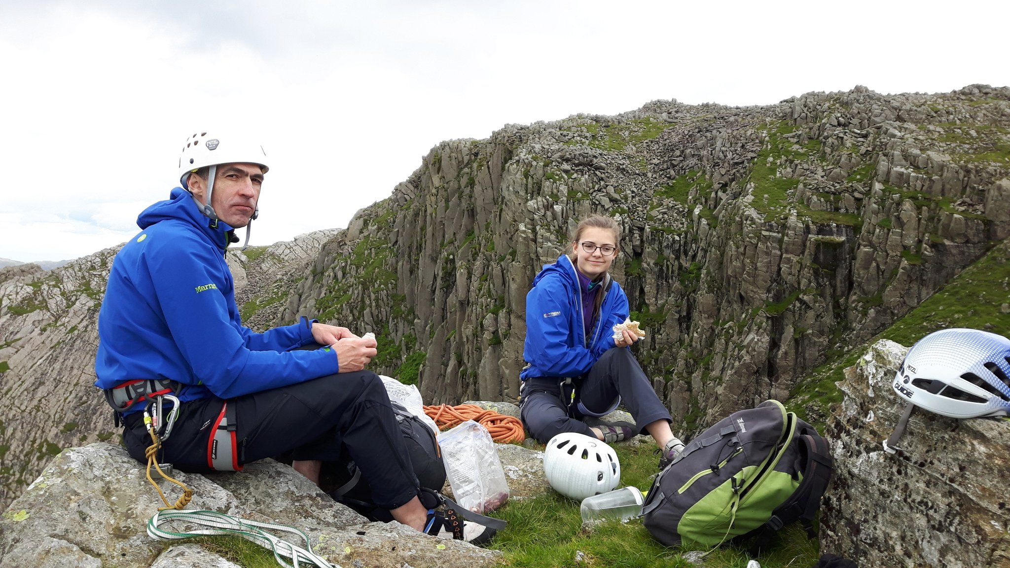 July: rock climbing Bowfell Buttress in the Lake District