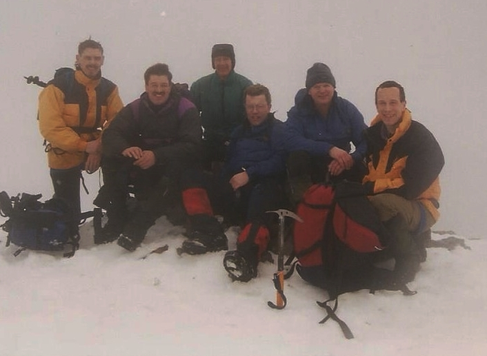 Mountaineering in Glencoe, 1996. Michael is third from the right (yes, really)