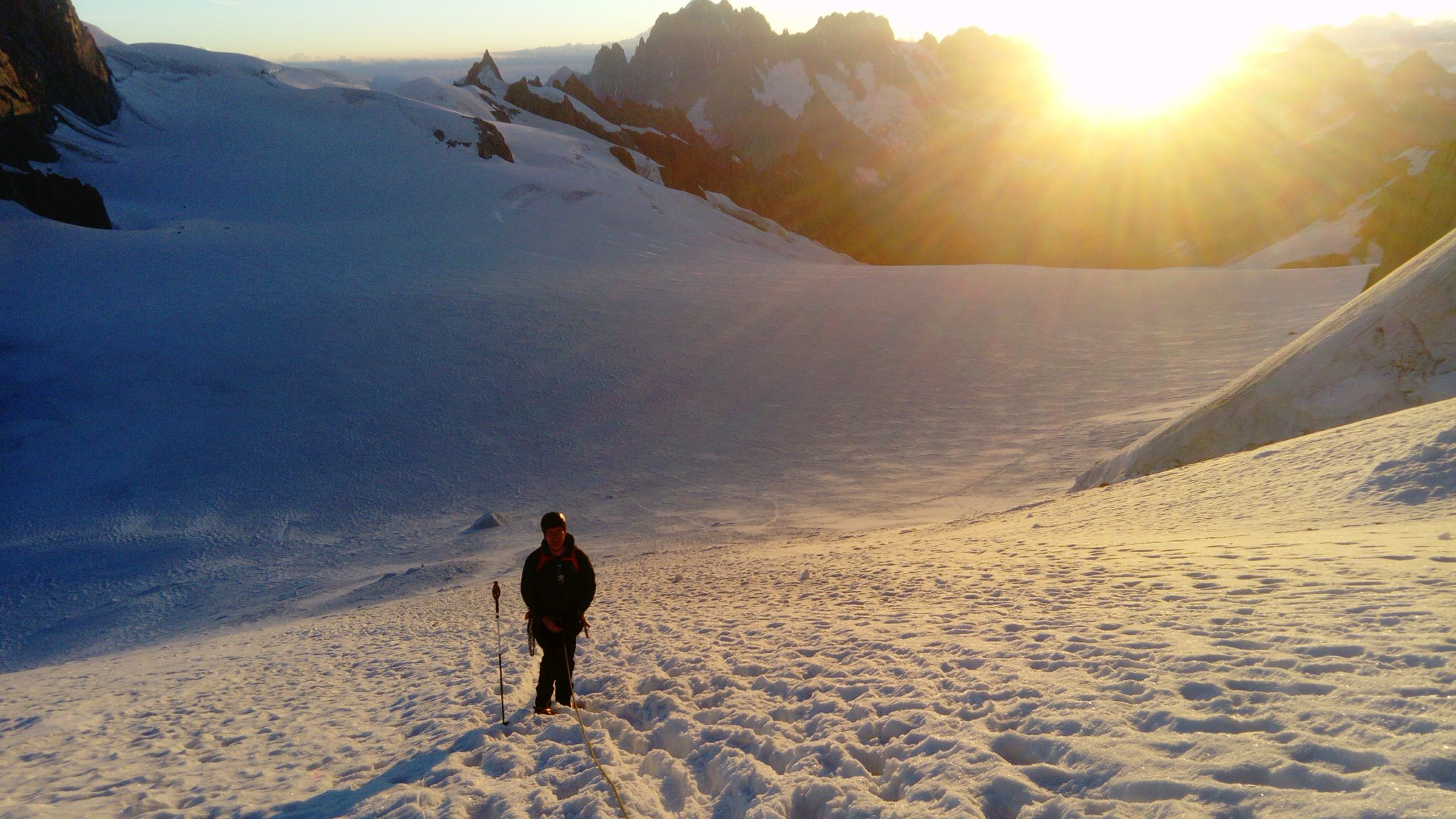 At the Col du Midi, on the way up Mont Blanc du Tacul