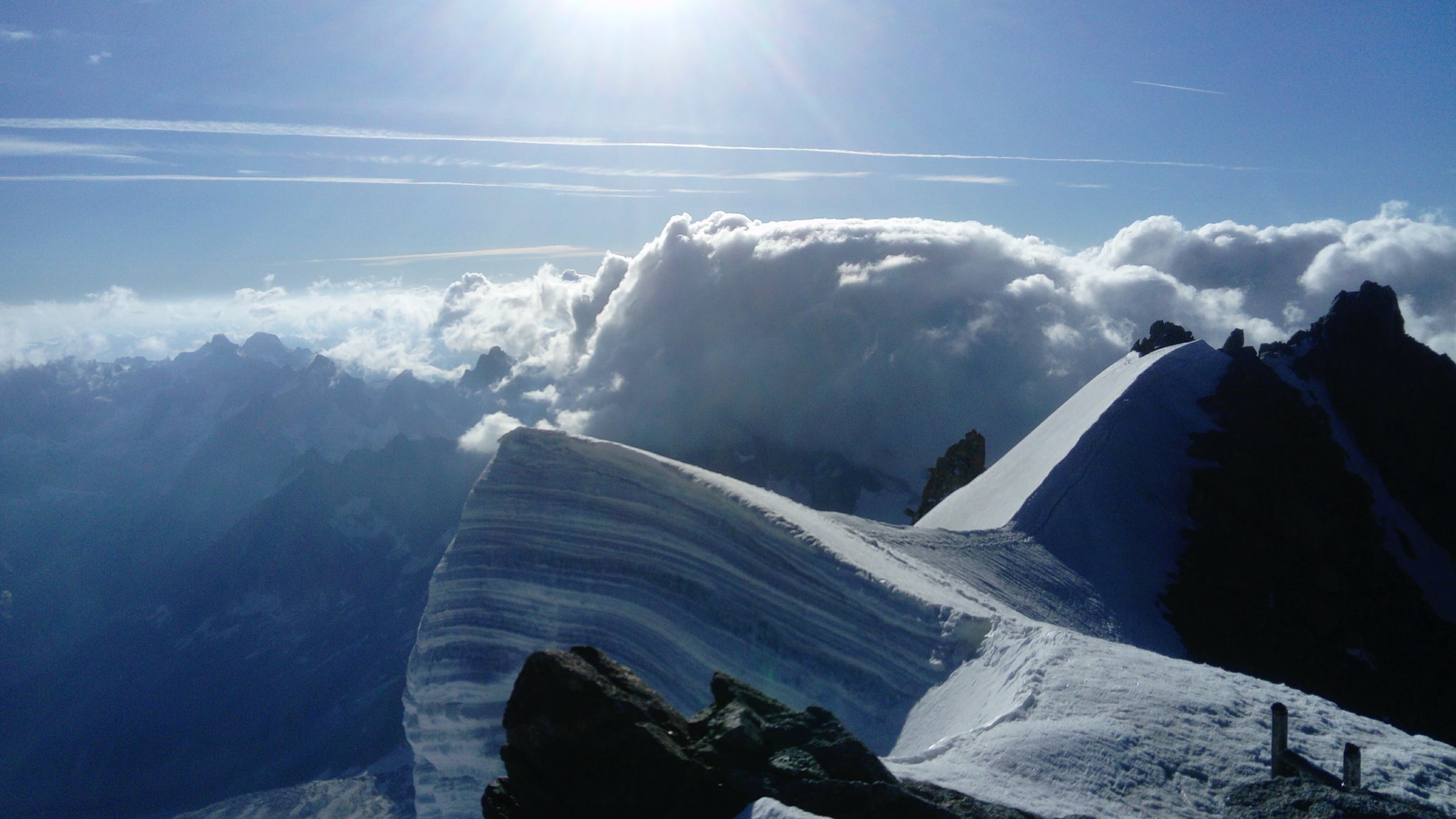 Looking to Italy from summit of Mont Blanc du Tacul
