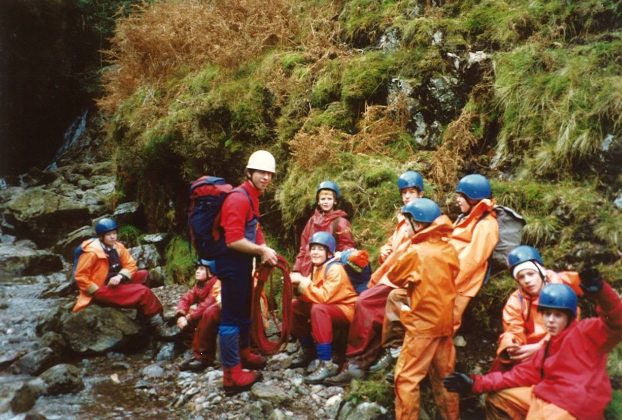Leading a group up Browney Gill, Langdale, whilst working at YMCA Lakeside in 1987