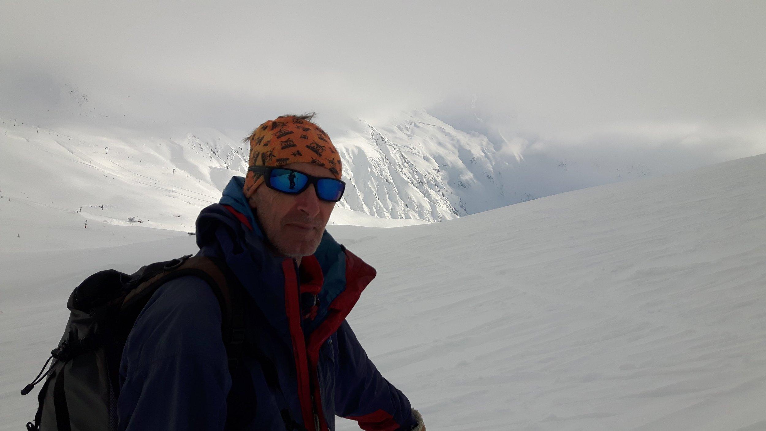 Pete with the Le Tour area and the Le Tour glacier behind
