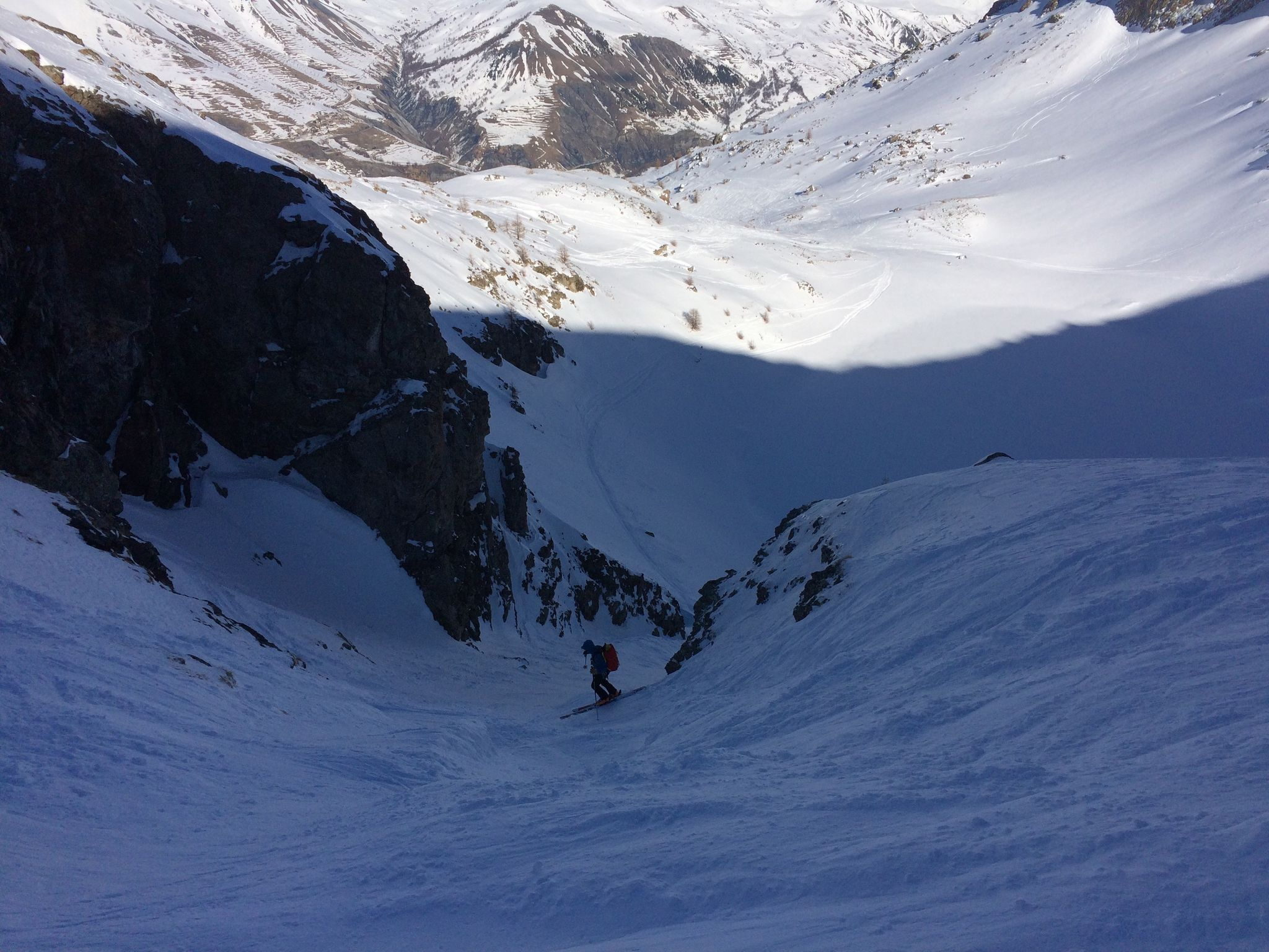 Me skiing the hidden couloir down to the lake at La Grave. Photo credit: Marvin Klein
