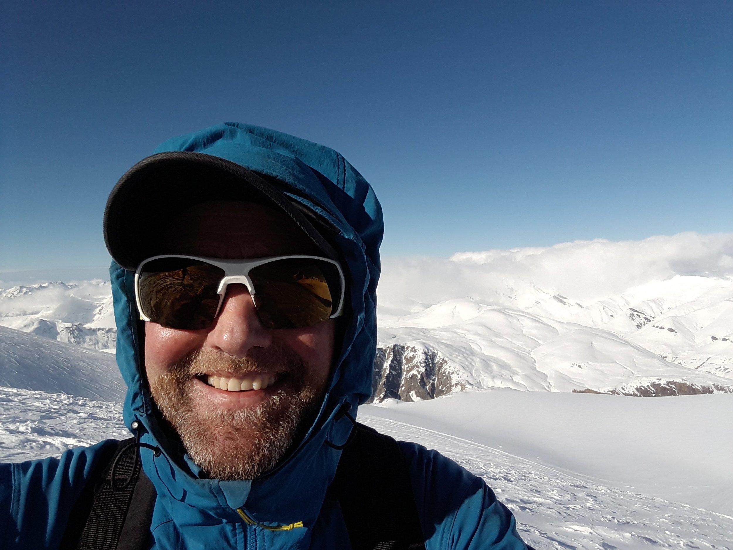 Me on the Glacier de la Girose, looking towards the Plateau d'Emparis