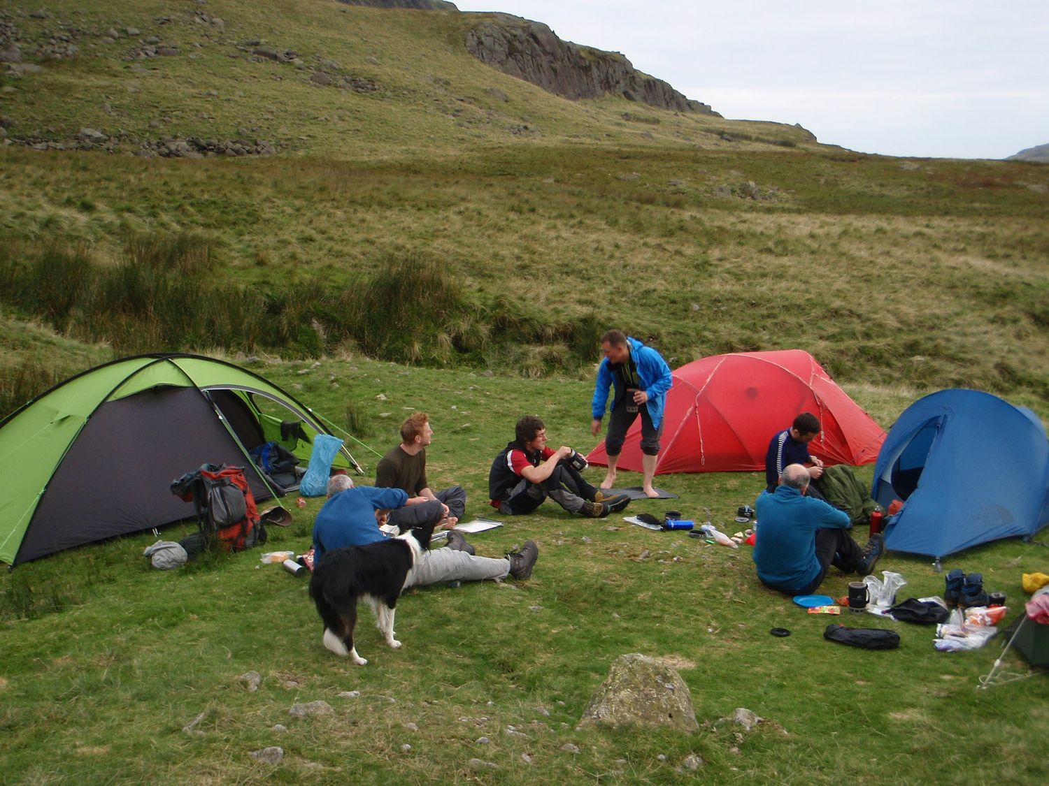 Mountain leader training candidates at the campsite