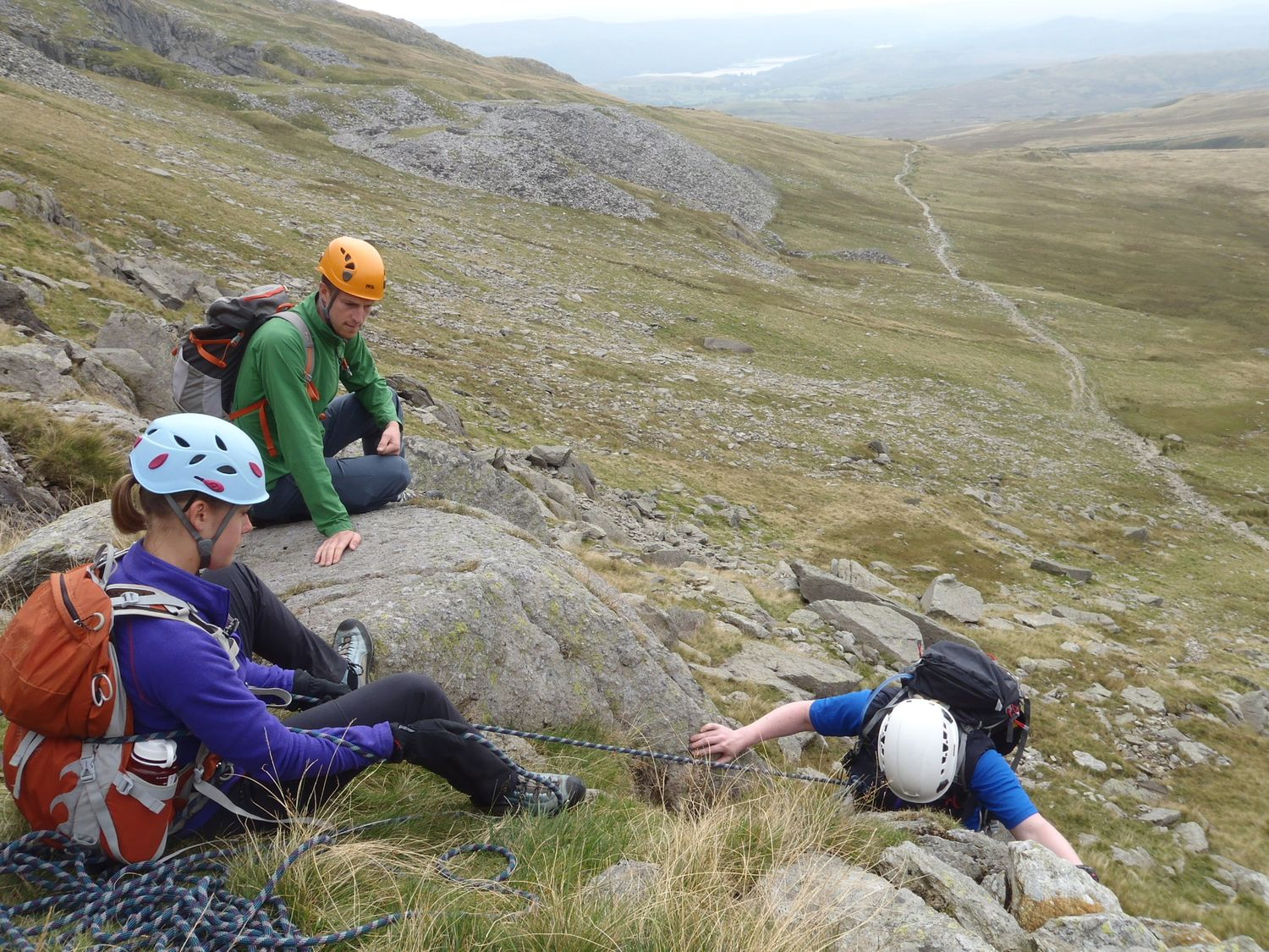 Working on steep ground on a Mountain Leader assessment course - Chris Ensoll Mountain Guide