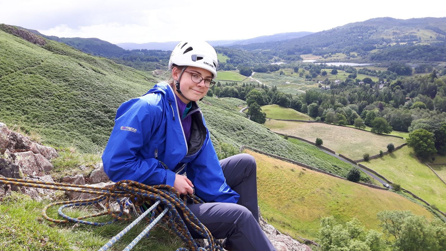 Belaying after leading a climbing in the Lake District - Chris Ensoll Mountain Guide