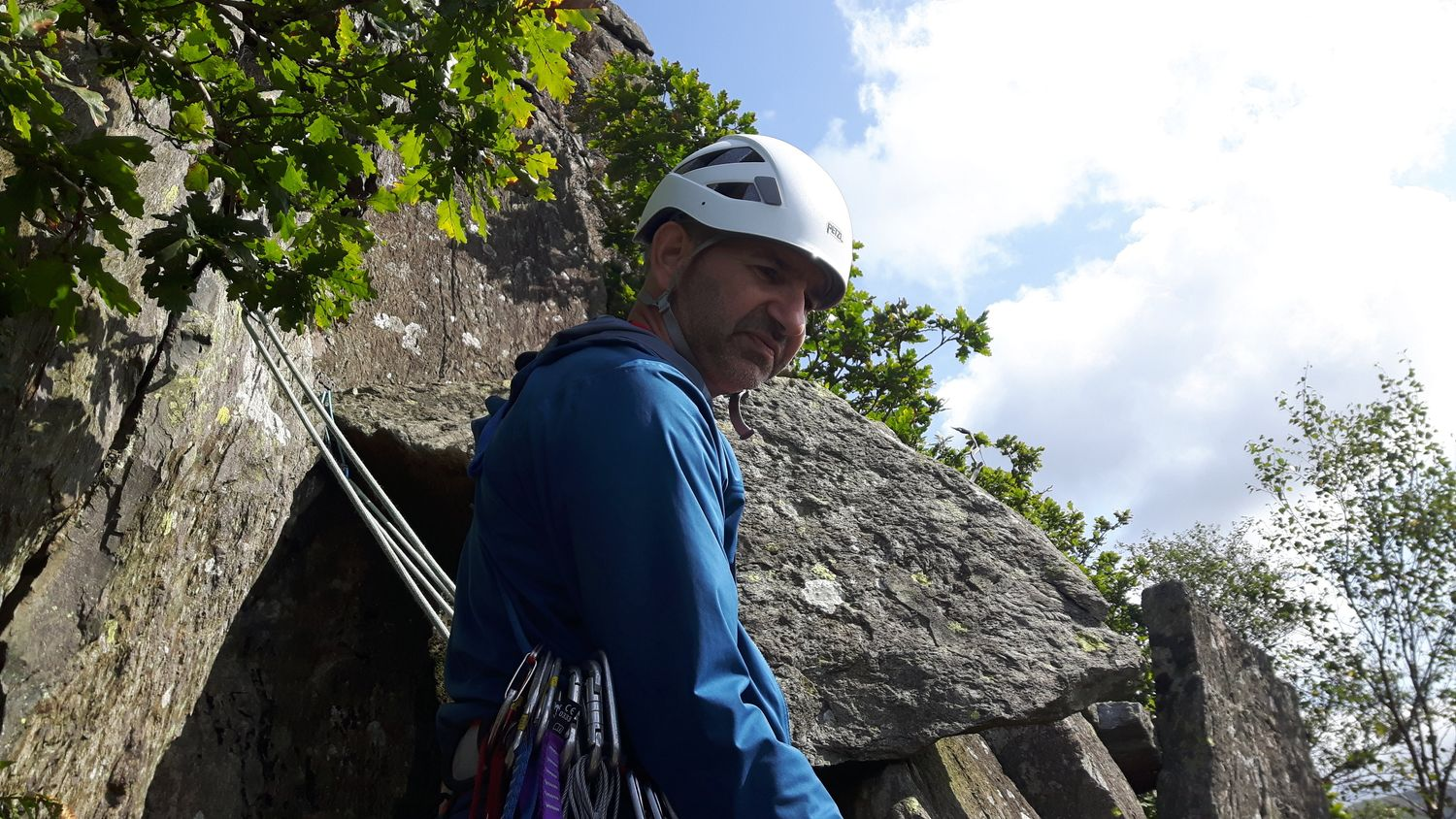 John belaying for his sons during two days of guiding in August 2018