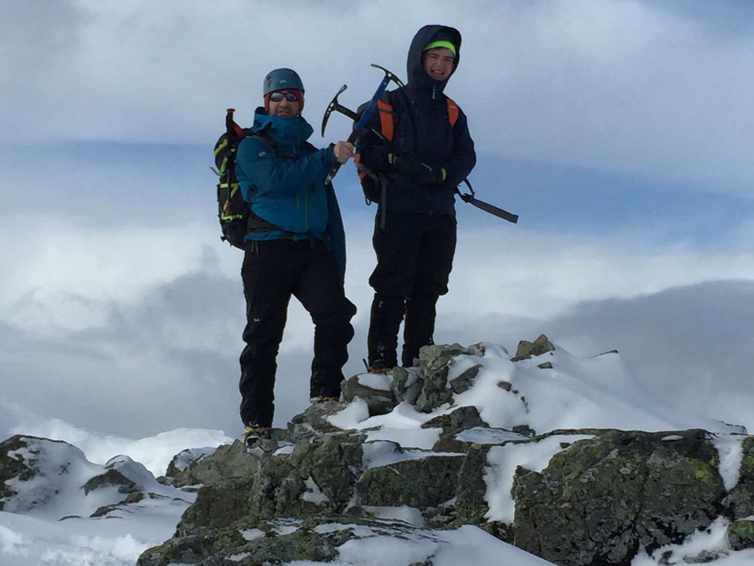 John with son Max on their winter mountaineering course in Glencoe