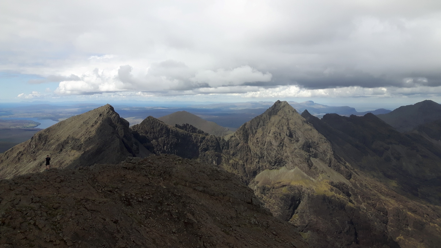 Looking north from the summit of the Inaccessible Pinnacle on day two - Sgurr nan Banachdich and Sgurr a'Ghreadaidh and on towards the north end of the ridge