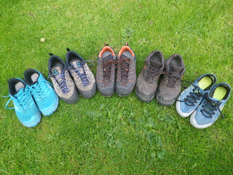 L to R: Inov8 Trailtalon; Five Ten Climbing Guide Tennie; Scarpa Crux; New Balance Goretex walking shoe; Five Ten Eddy