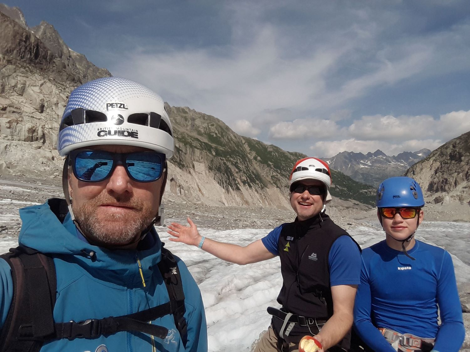 Day two: me with Rich and Ben looking back towards Montenvers from the Mer de Glace