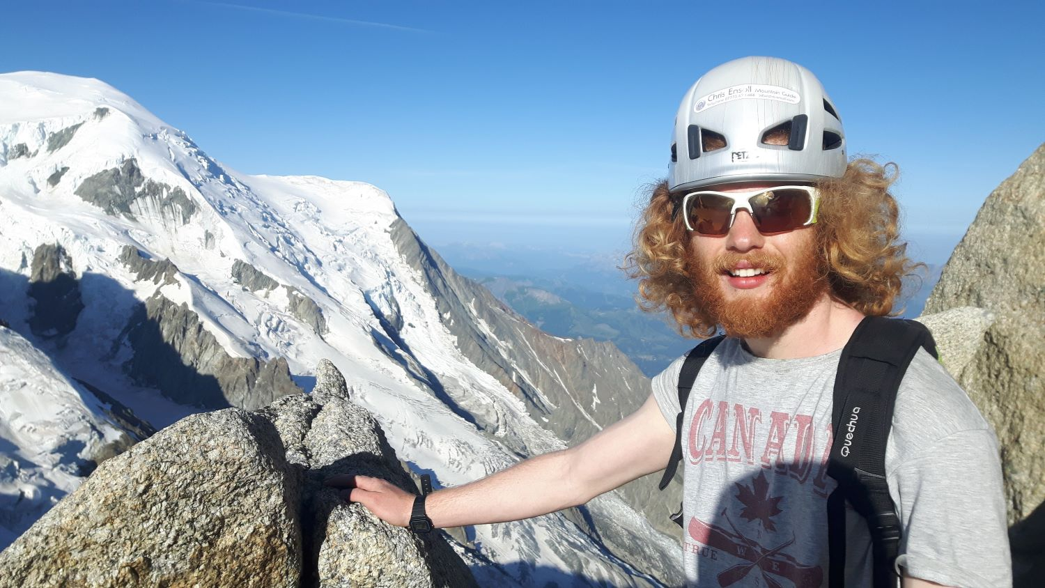 Day four: Sam near the top of the Arête des Cosmiques with the Aiguille du Goûter behind
