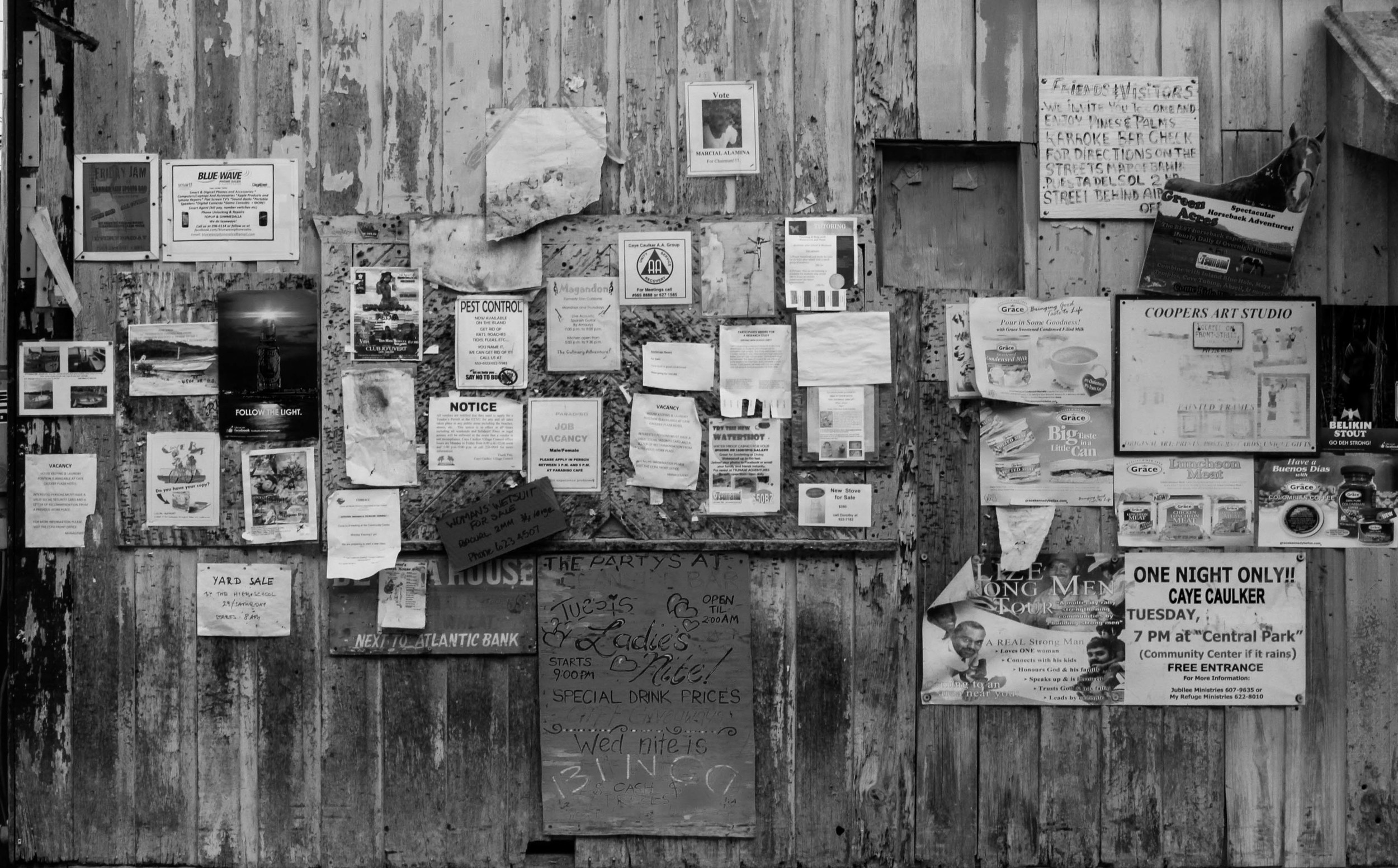 caye caulker poster black and white